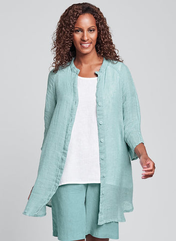 Good Day Jacket (shown in Aqua Gauze), FLAX Linen in regular and plus sizes.
