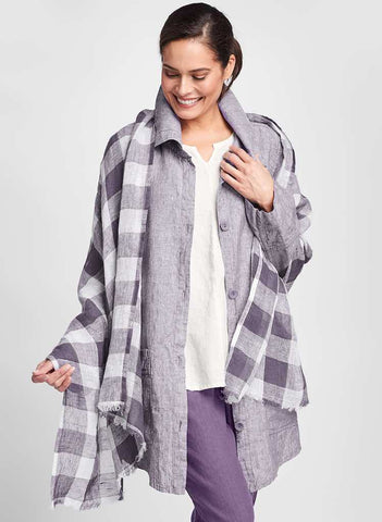 Grande Scarf (Plum Plaid) + Daily Duster (not available in Plum Yarn Dye, shown) + True Tunic (solid White) + Pocketed Ankle Pant (solid Plum), 100% Linen, by FLAX.  Classics Two 2020 + Fall Traveler 2020