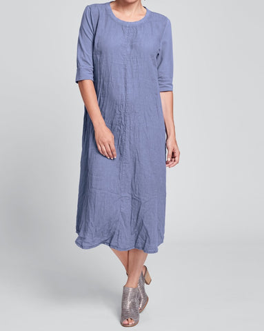 Horizon Dress (shown in Indigo) by FLAX, in Urban's crinkled Linen, in Regular and Plus sizes.