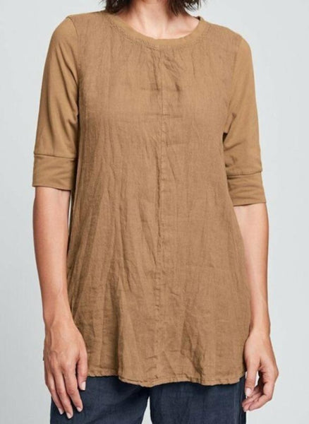 Horizon Tunic (in Cognac) + Renewed Floods (in Twilight), 100% Linen, with Cotton Knit Sleeves, and back pleat detail, by FLAX, Urban Fall 2019