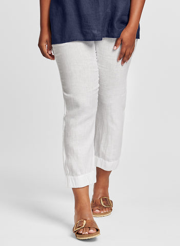 Jogger pant (shown in White), a sporty linen pant, with a wide elastic waistband, two side seam pockets, and wide elastic cuffs, so you can adust the length and the look! 100% Handkerchief-weight Linen (softened), UnderFlax 2021.