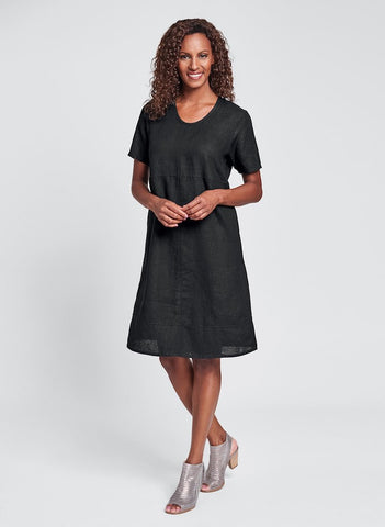 Play Date Dress (shown in Eclipse/Black), FLAX Linen in regular and plus sizes.