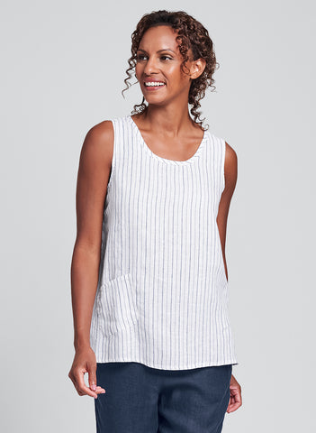 Pocket Tank (Shown in Blue Night Stripe) by FLAX in Regular or Plus sizes.