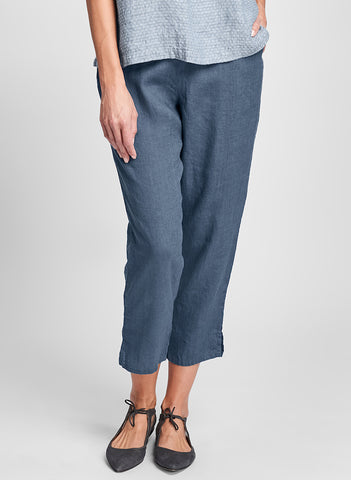 Pocketed Ankle Pant (shown in Steel), 100% Linen, flat front waist, 3/4 elastic in back, two side seam pockets, tapered pant legs, finish with a slight flare and side slits, in ankle-length (or just above).  FLAX, Classics Two 2020