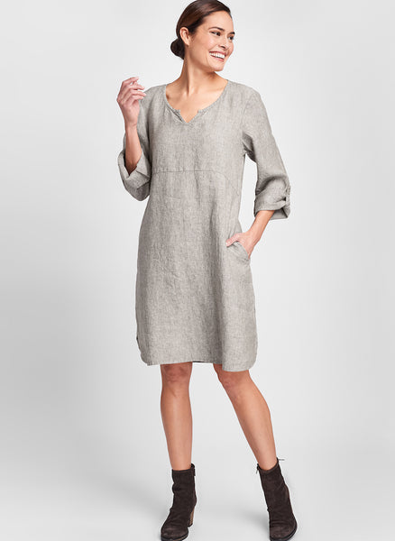 Pullover Dress (shown in Mink Yarn Dye), a knee-length linen dress with long button-tab sleeves and side pockets, 100% Yarn Dyed Linen, by FLAX.  Collection: Fall Traveler 2020