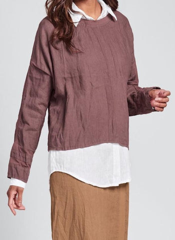 Quincy Top (in Raisin) + McQueen Shirt (in White Handkerchief) + Harbor Skirt (in Cognac)
