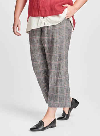 Renewed Floods (shown in Plaid), 100% Handkerchief-weight Linen in Urban's signature crinkled look, with drawstring waistband in soft cotton knit, FLAX Urban 2021.