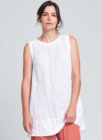 Roadie Tunic (shown in White), Sleeveless Tunic, woven in Urban's signature crinkled Linen, high round neckline in soft cotton knit, with side seam pockets, in FLAX sizes P-XL.  FLAX Urban 2020.
