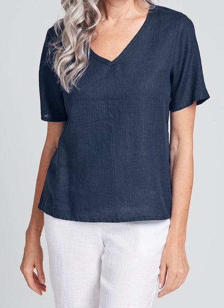 S/S Crop V (shown in solid Blue Night), a cropped Linen T-shirt, in 100% Handkerchief-weight Linen, v-neckline, with short sleeves. UrbanFLAX 2020.