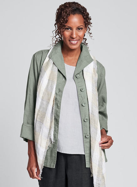 Shapely Caper (shown in Green Tea), FLAX Linen in Regular and Plus sizes.