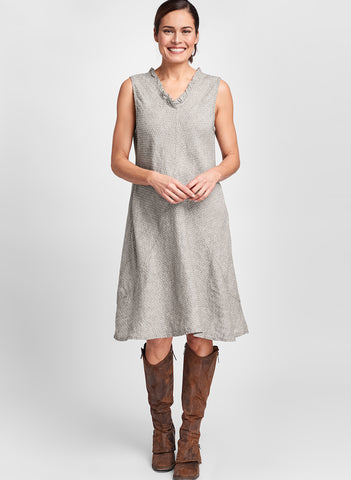 Special Dress (shown in Mink Fleur de Lis), sleeveless knee length dress, 100% Linen, Jacquard-woven, textured, by FLAX.