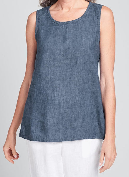 Sunny Tank (shown in Denim Yarn Dye), 100% Yarn Dyed Linen, sleeveless top, in Regular and Plus sizes. FLAX Spring Traveler 2020.