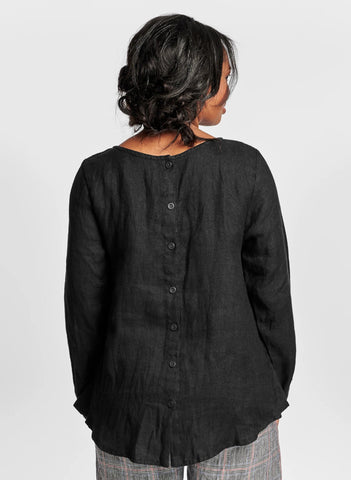 Tell Tail Top (shown in Black Panama) 100% Linen, textured.  FLAX Urban 2021.