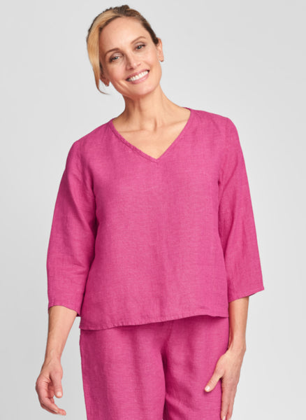 3/4 Crop V (shown in Magenta), 3/4 sleeves, v-neck, cropped length, 100% Linen, FLAX Bold 2021.