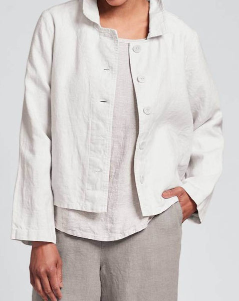 Tourista Jacket (Alabaster) + Throw It On (Oyster Panama) + Pocketed Ankle Pant (Latte), FLAX SELECT collection in Medium-weight Linen for the cooler seasons from Fall to Spring.