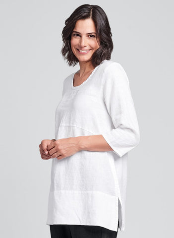 Tranquil Pullover (shown in White), FLAX Linen in regular and plus sizes.