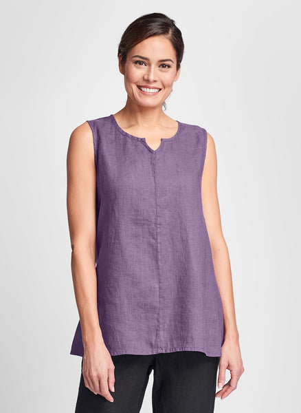 True Tunic (Plum), 100% Linen, by FLAX, in women's regular and plus sizes.  Classics Two 2020.