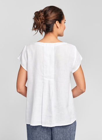 Tuck Back Tee (shown in White) featuring pintuck detail on back, FLAX Linen in regular and plus sizes