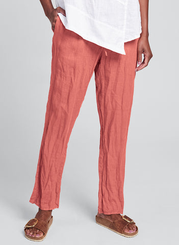 Urban Slims (shown in Guava) a tapered slim leg pant, woven in Urban's signature crinkled Linen, with drawstring waistband in soft cotton knit, and side seam pockets, finishing at (or just below) the ankle. FLAX Urban 2020.