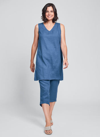 V-Neck Tunic (Ocean) + Cropped Pants (Ocean), FLAX linen clothing in Regular and Plus Sizes.