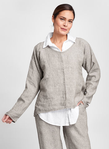 Whisperer (Mink Yarn Dye), layered over the Crossroads Blouse (in White), paired with Floods (in Mink Yarn Dye), 100% Linen, by FLAX, for women in regular and plus sizes.  Fall Traveler 2020