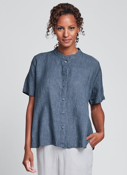 Zdenka Blouse (shown in Denim Yarn Dye), FLAX Linen in Regular and Plus sizes.
