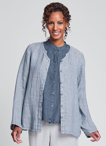 Observation Blouse (in Denim Chainstitch), FLAX Linen in Regular and Plus sizes.
