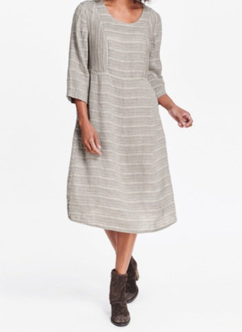 Angle Dress (shown in Mushroom Linea), by FLAX in 100% Linen, midi (mid-length) dress with 3/4 sleeves and an empire waist, in regular and plus sizes.