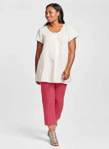 The Cool Tunic (shown in White) is paired with the slimming Pocketed Ankle Pant (shown in Rhubarb) for a fun contrast.  100% Linen, available in solid colors.  Collection:  FLAX Classics 2021.