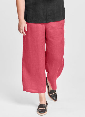 Floods (shown in Rhubarb), this #1 FLAX Pant Style is 100% Linen with full elastic waist, two side pockets, and full pant lets that end just above the ankle (depending on your height).  Available in solid colors.  Collection:  FLAX Classics 2021