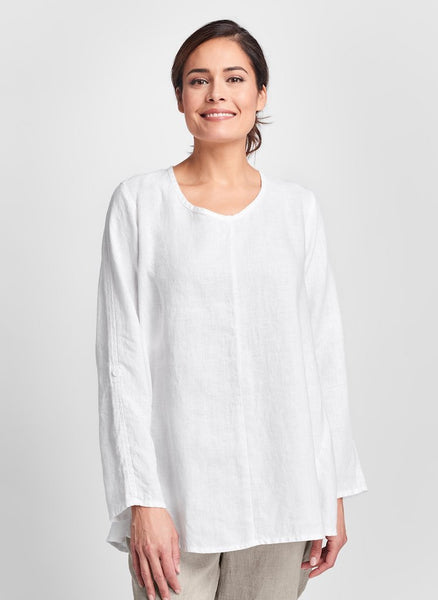 Flourish Pullover (shown in White), a flattering long sleeved top with button tabs, a soft v-neckline, and seam detail. 100% Linen, by FLAX, Collection: Classics Two 2020