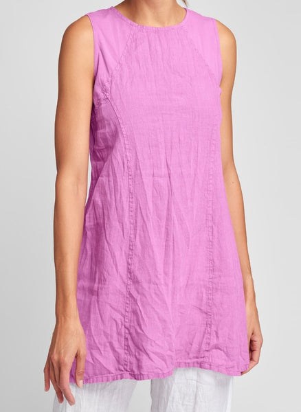 "The Hudson Tunic (shown in Peony), a sleeveless tunic, woven in 100% Handkerchief-weight Linen (body), which has been steam crunched to give it Urban's signature ""crinkled"" look, with an A-line shape that lands on the thigh, and a high and rounded neckline featuring seam detail and shoulder panels in soft Cotton Knit (92% Cotton - 8% Spandex).   FLAX Urban II 2021."