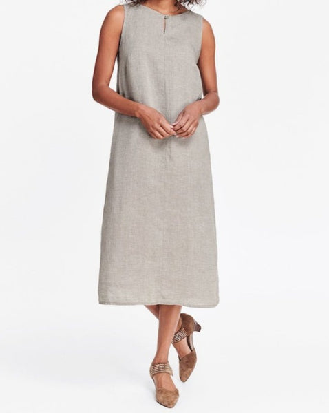 Keyhole Dress (100% Linen, shown in Mushroom), sleeveless mid length A-line dress, high rounded neckline, with keyhole detail, with button and loop closure, center seam, side seam pockets, FLAX Transition 2018.