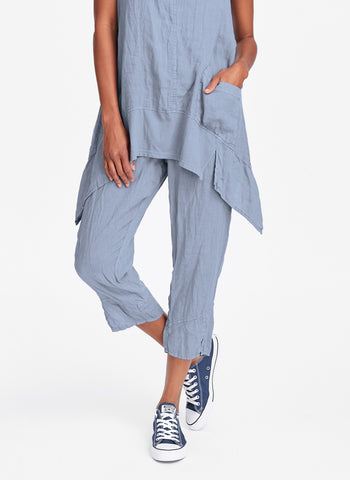 Metro Crop (shown in Wedgewood), a cropped linen pant with pockets, 100% Handkerchief-weight Linen, with Cotton Knit drawstring waistband.  FLAX Urban 2019.