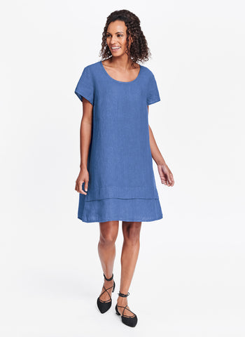 One Tuck Wonderful (shown in Lapis), FLAX linen in regular and plus sizes.