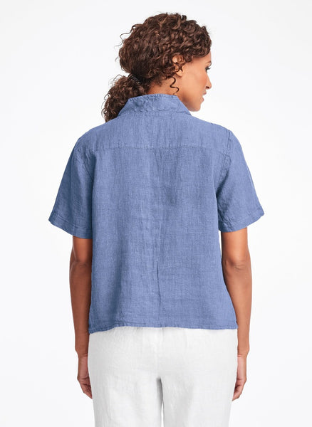 Selected Version (shown on the reverse side, in Colonial Blue) - 100% Linen, button-down blouse, short sleeves, v-neckline
