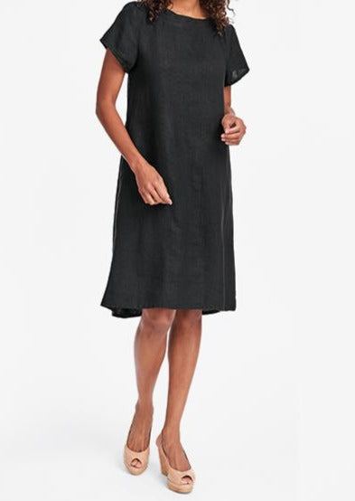 Truly Dreamy Dress (100% Linen, shown in Black) - short-sleeved A line dress lands knee length or just below, with a slightly ruffled boatneck collar, and 2 side seam pockets, FLAX Bold 2019.