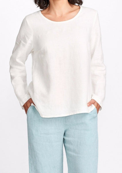 Balance Pullover (shown in Cream), worn with the Refreshed Pant (shown in SeaGlass), in 100% Linen, by FLAX,