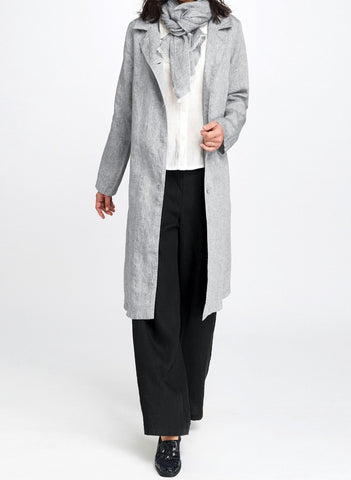 Trenched Jacket (shown in Greystone), 100% Linen, yarn-dyed.  Long linen trench-style jacket, shown paired with the coordinating FLAX Scarf in Greystone Gauze.