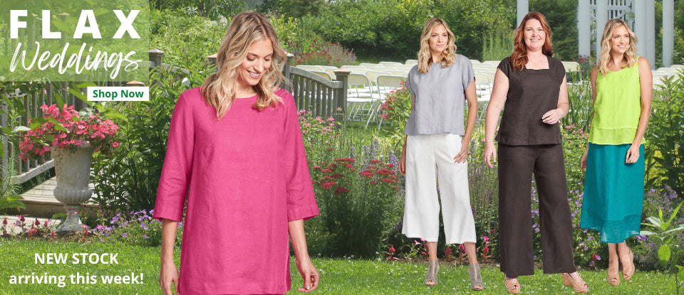 FLAX Urban 2021 : Signature Crunched Handkerchief-weight Linen, in vibrant new colors, and a sophisticated Plaid to coordinate, Now offered in Plus Sizes!