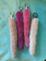Keychain with blue mink