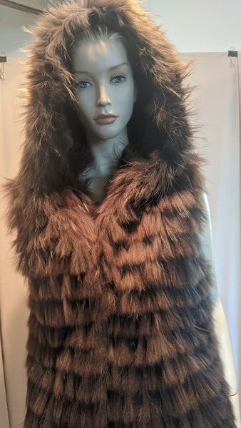 FOX BROWN VEST WITH HOOD