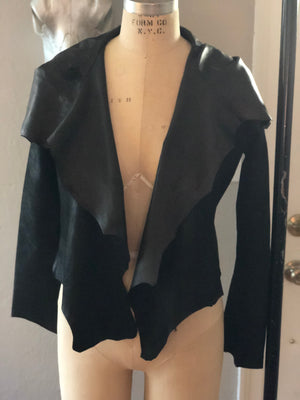 Mysterious cropped hooded lamb skin jacket