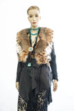 LEATHER JACKET FRINGE DETAILS CAT LYNX COLLAR