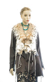 DEER SKIN LEATHER JACKET  LYNX CUT W/LACE DETAIL AND FRINGE