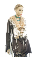DEER LEATHER JACKET  LYNX CUT W/LACE DETAIL AND FRINGE