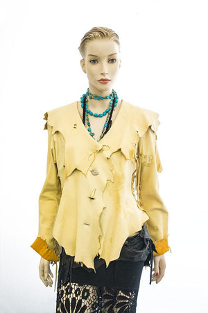 DEER SKIN LEATHER JACKET W/DEER HORN BUTTONS