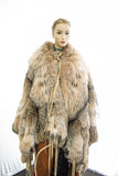 LYNX CAPE W/WOLF REVERSIBLE SIDE AND DEER SKIN