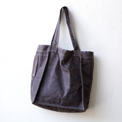 tote linen beeswaxed waxed cotton canvas carryall brown espresso
