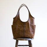 tote leather pocket magnet sling premium brown